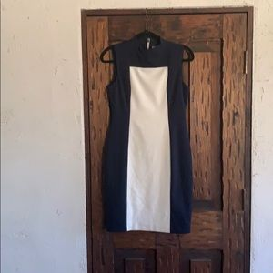 A navy and white dress